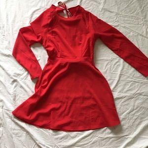 Red Open Back Nasty Gal Mini Dress W LongSleeve